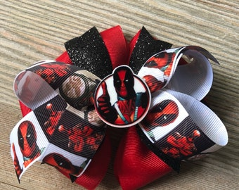 Deadpool Inspired Large Stacked Boutique Bow 5 inches with Bow Center Merc with the Mouth Marvel Anti Hero