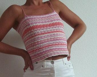 90/'s Crochet Halter Top 1990\u2019s Style Top Striped Top Criss-Cross Closure Vintage Aesthetic
