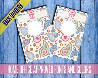 """Clothing Rack Dividers! H O Approved Fonts and Colors! 4x6"""" Print Ready; hanger tags; Pop-Up Boutique; clothing dividers; INSTANT DOWNLOAD!"""