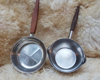 Stainless steel sauce pans, Scandinavian vintage