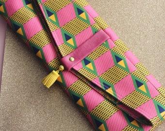 Pink, green clutch bag - shoulder bag - with Removable Leather Straps