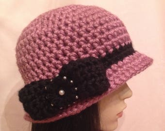 Crochet 20s Style Cloche Hat Pink with Black Bow