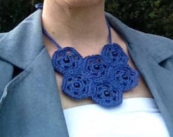 Blue crochet statement necklace