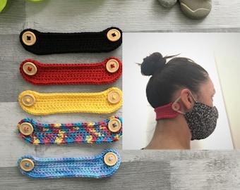Face Mask Strap - Crochet Button Ear Saver - Face Masks & Coverings - Comfortable Neck Strap