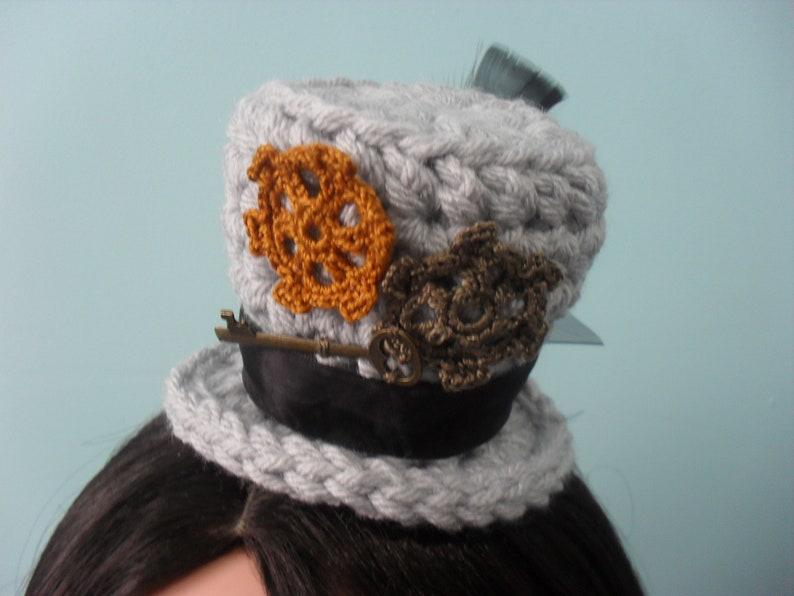 Grey Crochet Steampunk Mini Top Hat