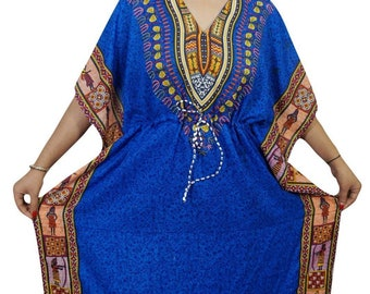 9ae4c2918fb6 Women Plus Size African Dashiki Style Boho Tribal Print Drawstring Batwing  Sleeve Kaftan Dress, Women Long Caftan Maxi Gown Blue