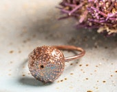 Small Sea Urchin Ring - Copper or Silver Made to Order - Electroformed Jewelry - Natural Materials - Nature Inspired Beach Ocean Shell