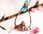 Aqua Aura Crystal Bee Necklace - Electroformed Bumblebee and Blue Crystal Point - Copper Rose Gold Long Pendant