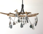 Coastal Driftwood Sea Glass Chandelier Ceiling Light Fixture Rustic Boho Gray / Grey Beach Glass Reclaimed Materials - Ocean Inspired Decor