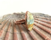 Sz 8 Portuguese Turquoise and Copper Statement Ring - Rustic Organic Nature Inspired Jewelry