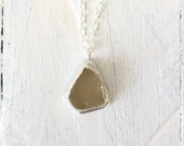 Sea Glass Pendant - Citron Yellow Green Silver Necklace - Electroformed Nature Inspired