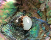 Sz 7 Moonstone Faceted Copper and Silver Ring - Nature Inspired Jewelry Natural Stone Moon