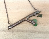 Twig Necklace with Green Sea Glass Leaf - Copper Electroformed Pendant Jewelry - Nature Inspired Unique - Tree Branch