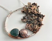 Ocean Statement Necklace Made with Sea Algae, Sea Urchin and Sea Glass - Nature Inspired Art Jewelry Pendant