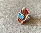 Ring sz 6.5 Mohave Turquoise and Orange Garnet Mixed Metals Statement Ring - Silver and Copper Hessonite Garnet and Turquoise Stones