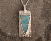 Sea Blue Jasper Necklace - Ocean Jewelry - Nature Inspired Silver Aqua Pendant