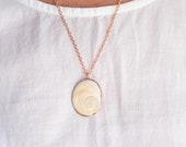 Puka Shell Necklace - Operculum Seashell Pendant - Copper Rose Gold Nature Inspired Jewelry