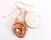 Seashell Operculum Snail Shell Earrings - Copper Electroformed Nature Inspired Jewelry - Puka Shell