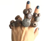 Medium Sea Urchin Ring Copper or Silver - Custom Sizes Available - Nature Inspired - Marine Shell Ocean Sea Beach Jewelry - Electroformed