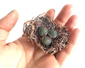 Bird's Nest Bracelet Cuff made from Recycled Ocean Plastic Nylon Fishing Rope - Electroformed Statement Jewelry Nature Inspired Upcycled