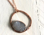 Druzy Circle Necklace - Copper Pendant - Nature Inspired Organic Materials Drusy