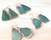 Teal Sea Glass Earrings - Ear Hooks - Electroformed Jewelry - Aqua Teal Blue Turquoise Mint Green - Rose Gold