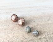 Sea Urchin Stud Post Earrings - Small Minimalist Jewelry - Silver or Copper