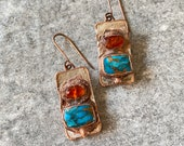 Earrings Mohave Turquoise and Orange Garnet Organic Jewelry - Sterling Silver and Copper Mixed Metals