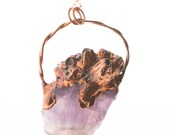 Raw Amethyst Stone with Sea Barnacles Electroformed Copper Statement Necklace - Nature Inspired Boho Mermaid Pendant