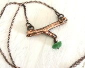 Small Twig Necklace Green Sea Glass - Copper Electroformed Nature Inspired Jewelry - Horizontal Bar Pendant