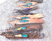 Boho Feather Earrings with Turquoise - Nature Inspired Long Statement Earrings