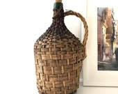 Vintage Demijohn Carboy Large Format Wine Bottle with Woven Basket Casing