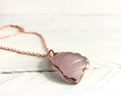 Textured Pink Sea Glass Copper Pendant - Rose Gold Necklace - Mermaid Jewelry
