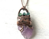 Raw Amethyst Sea Glass and Copper Necklace - Nature Inspired Electroformed Jewelry Pendant Long Chain