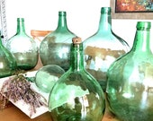 Vintage Light Green Demijohn Antique Glass Carboy Wine Bottle from Europe 4 Liter