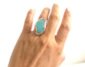 Sz 5 1/4 Caribbean Blue Sea Glass Ring Copper and Silver - Mermaid Style - Nature Inspired Ocean Jewelry