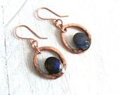 Labradorite Earrings - Hammered Copper - Handcrafted Electroformed Unique Jewelry