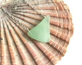 Seafoam Green Sea Glass and Sterling Silver Necklace - Simple Nature Inspired Genuine Beach Glass Pendant