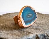 Statement Ring - Big Blue Ring - Blue Druzy Quartz Ring - Ocean Mermaid Ring - Power Ring - Nature Inspired Jewelry
