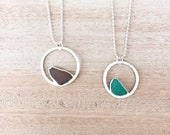 Small Circle Sea Glass Pendant - Electroformed Silver Necklace - Minimalist Jewelry - Rare Colors Grape Purple and Caribbean Teal Blue