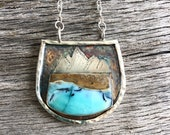 Mountain and Ocean Pendant - Silver Wood Opal Necklace - Nature Inspired Statement Jewelry - Beachscape, Landscape Stone Pendant