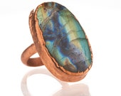 Labradorite Statement Ring - Electroformed Copper Nature Inspired Jewelry