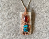 Turquoise & Garnet Pendant - One of a Kind Mohave Turquoise and Hessonite Garnet Mixed Metals Silver and Copper Necklace with Chain