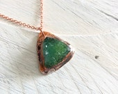 Beautiful Green Druzy Pendant - Triangle Drusy Druse Necklace - Nature Inspired Electroformed Jewelry