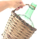 Light Green and Wicker Demijohn Bottle - Wine Jug Vintage Antique Glass