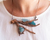Teal Aqua Blue Sea Glass with REAL Coral Copper Necklace - Electroformed Nature Inspired Jewelry - Statement Piece - Ocean Mermaid