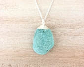 Aqua Turquoise Blue Sea Glass and Silver Pendant on Rope Chain Necklace - Ocean Inspired Electroformed Mermaid Jewelry