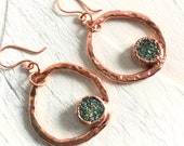 Drusy and Copper Circle Dangle Earrings - Hammered Metal and Natural Stone - Nature Inspired Art Jewelry