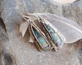Teal Earrings - Blue Wood Opal Silver Earrings - Artsy Earrings - Textured Jewelry - Electroformed Natural Stones