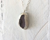 Purple Sea Glass Flower Pendant - Silver Electroformed Necklace - Nature Inspired Jewelry